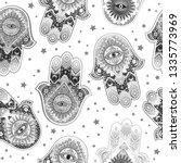 hamsa print design. aztec towel ... | Shutterstock .eps vector #1335773969