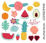 summer set of design elements... | Shutterstock .eps vector #1335829940