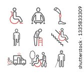 disabled people line icons set. ... | Shutterstock .eps vector #1335833309