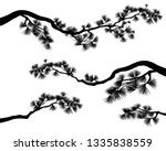 long elegant pine tree branches ... | Shutterstock .eps vector #1335838559
