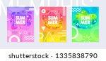 rainbow summer poster set in... | Shutterstock .eps vector #1335838790