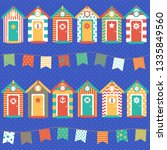 pattern beach huts  children's ... | Shutterstock .eps vector #1335849560