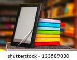 stack of colorful books with... | Shutterstock . vector #133589330