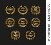 set of golden laurel wreaths on ... | Shutterstock .eps vector #1335895700