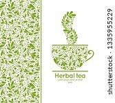 green tea cup emblem design....   Shutterstock .eps vector #1335955229