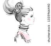 hand drawn girl face portrait.... | Shutterstock .eps vector #1335966440