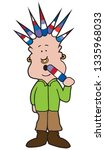 a man with colorful spiked hair ... | Shutterstock .eps vector #1335968033