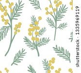 mimosa seamless pattern. floral ...   Shutterstock .eps vector #1335969119