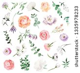colorful roses floral elements... | Shutterstock . vector #1335978233