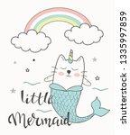 mermaid unicorn cat vector...   Shutterstock .eps vector #1335997859