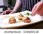 chef preparing scallops wrapped ...   Shutterstock . vector #133600118