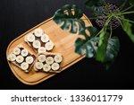 three banana white bread toasts ... | Shutterstock . vector #1336011779
