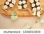 three banana white bread toasts ... | Shutterstock . vector #1336011833