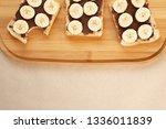 three banana white bread toasts ... | Shutterstock . vector #1336011839