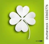 Paper Clover Leaf On Green...