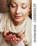 coffee beans. beautiful blond... | Shutterstock . vector #1336032119