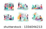 scenes with family doing... | Shutterstock .eps vector #1336046213