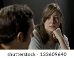 young woman listening to man's... | Shutterstock . vector #133609640