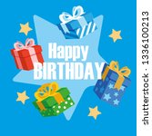 happy birthday card with gifts... | Shutterstock .eps vector #1336100213