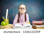 cute little student girl study... | Shutterstock . vector #1336122359