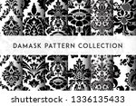 set of vector seamless damask... | Shutterstock .eps vector #1336135433