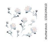 vector spring flowers pastel... | Shutterstock .eps vector #1336144610