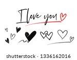 i love you  hearts  underline... | Shutterstock .eps vector #1336162016