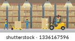 warehouse interior with workers ...   Shutterstock .eps vector #1336167596