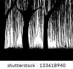 willow tree silhouette ... | Shutterstock .eps vector #133618940