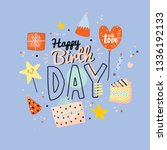 happy birthday kids poster with ... | Shutterstock .eps vector #1336192133