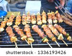 bbq food on plate of grill... | Shutterstock . vector #1336193426