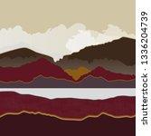 mountain landscape in burgundy... | Shutterstock .eps vector #1336204739