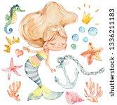 mermaid watercolor character... | Shutterstock . vector #1336211183