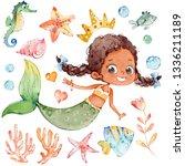 mermaid watercolor african... | Shutterstock . vector #1336211189