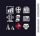 halloween 1 bit pixel art icons ...   Shutterstock .eps vector #1336226696