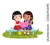 Vector illustration of  two little girls sitting on the bench and reading book together.