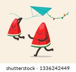 watermelons fly a kite. father... | Shutterstock .eps vector #1336242449