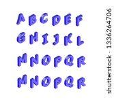 isometric alphabet font. 3d... | Shutterstock .eps vector #1336264706