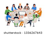 office workers sitting at round ... | Shutterstock .eps vector #1336267643