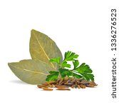 fresh green parsley  bay leaves ... | Shutterstock .eps vector #1336276523