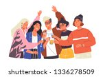 group of happy boys and girls... | Shutterstock .eps vector #1336278509