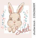 hand drawn cute bunny.... | Shutterstock .eps vector #1336286009