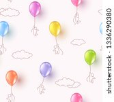 balloons with kids flying on... | Shutterstock .eps vector #1336290380
