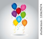 colorful balloons over gray... | Shutterstock .eps vector #133629674