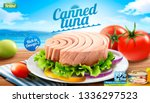 Canned tuna ads on bokeh beach background in 3d illustration