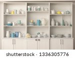 cupboard with clean dishes in... | Shutterstock . vector #1336305776