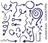 doodle set of pencil drawing... | Shutterstock .eps vector #1336307996