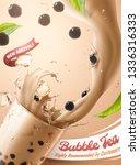 bubble tea ads with splashing... | Shutterstock .eps vector #1336316333
