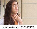 sick woman with sore throat ... | Shutterstock . vector #1336317476