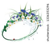 vector floral frame with wild...   Shutterstock .eps vector #1336353296